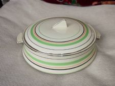 ELEGANT DECO TUREEN & LID EMPIRE SHELTON IVORY GREEN BLACK SILVER RINGS 9104 540